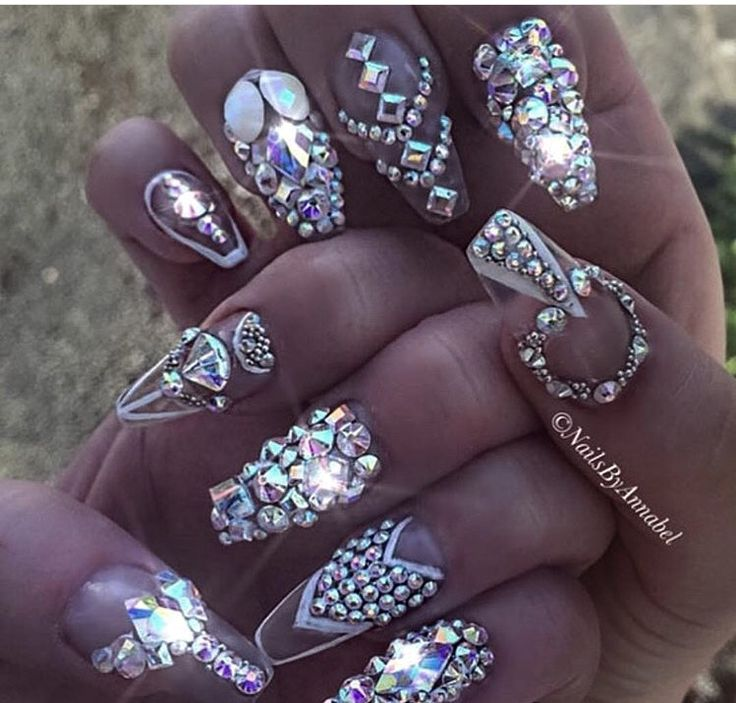 Dreaming of these beautiful blinged out nails by oh so ...
