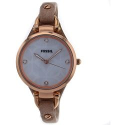 Fossil Women's ES3151 Georgia Three Hand Golden Brown Leather Skinny Strap Watch - product - Product Review
