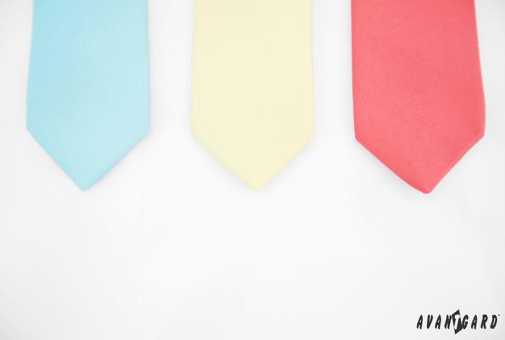 Žlutá, korálová a mátová kravata značk AVANTGARD   ///   Yellow, coral and mint tie - brand AVANTGARD