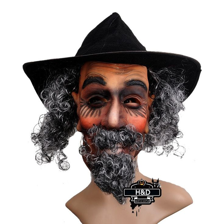 Latex Full Head Old Man with Cap Mask Curly Beard Hair Halloween Props Masquerade Fancy Dress Costume Horror Ghost Party Masks