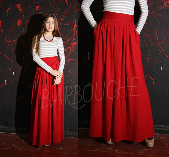 Red Winter Maxi Skirt Warm Pleated Long Knitted Skirt