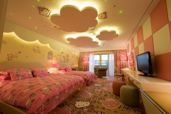 kids in fancy hotels | Awesome False Ceiling Designs For Kids Bedrooms With Pink Curtain And ...