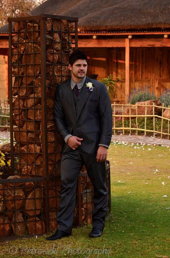 groom, dark grey suite