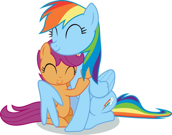 Scootaloo hugging rainbow dash after dash agreed to take her under her wing day 12 pony challenge