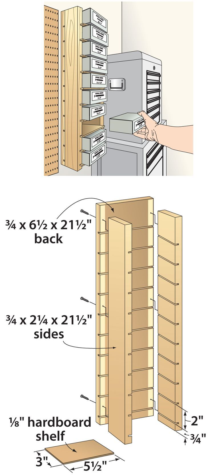 Easy, sturdy storage cabinets for screws. Learn more at the picture More info @ http://tips.woodmagazine.com/jigs-stands-organizers/simple-sturdy-storage-shelves-for-screws/