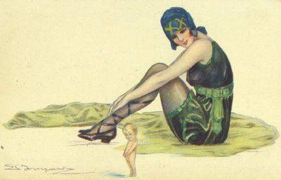 1918 Art Deco ~ Sergio Bompard ~ Bathing Belle