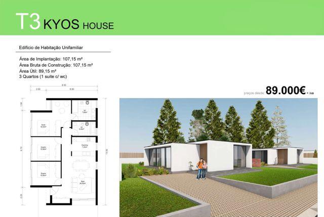 T3 KYOS HOUSE  - Deixe a realidade sobrepor-se à imaginação... T3 Kyos House para si e para a sua família, desde €89 000 euros (+iva). Contacto 968 542 583