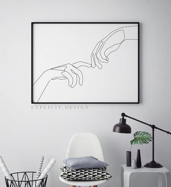 Finger Touch Printable One Line Drawing Print Romantic Hands – Lydia K.