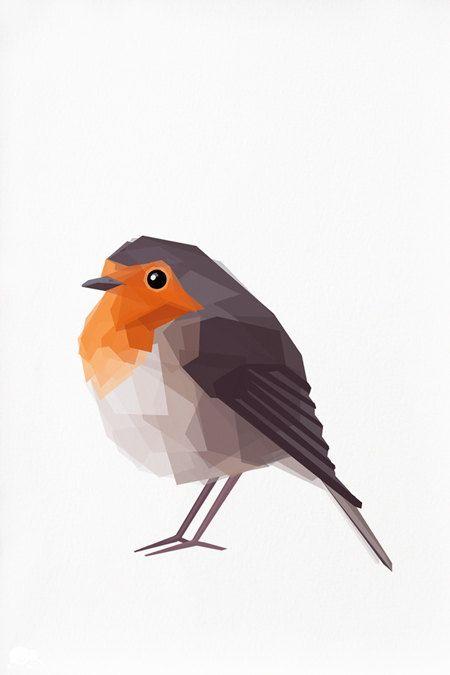 Geometric illustration, Robin red breast, Bird print, Original illustration TinyKiwiCreations Etsy