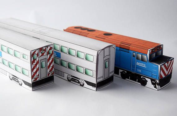 Metro Commuter Train Paper Model Set Railway Art Train