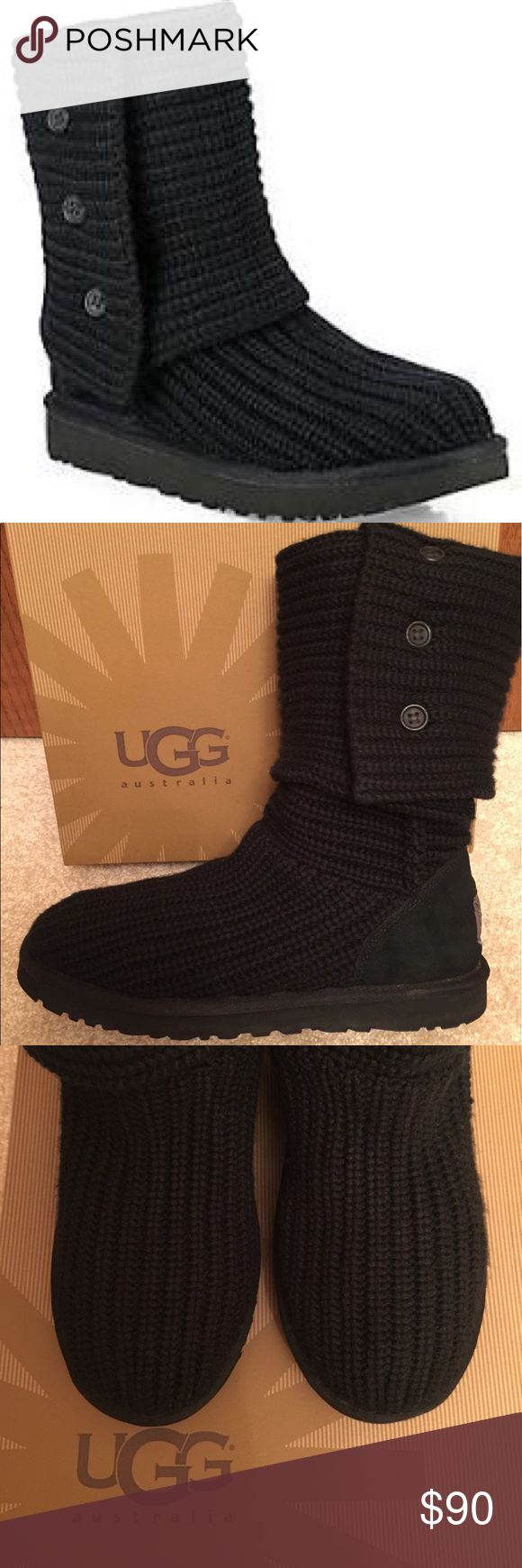 UGG Classic Cardy Knit Boots This adorable rib-knit boot is so cozy, especially with a genuine shearling lining for warmth. Functional buttons allow the shaft to be worn tall or folded over for a cute, cuffed look. Pull-on style with grip sole. UGG Shoes Winter & Rain Boots