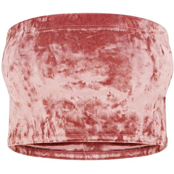 Petite Rose Velvet Bandeau Top (440 UYU) ❤ liked on Polyvore featuring tops, red bandeau bikini top, velvet crop tops, rose top, rosette top and red bandeau top