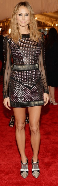 Who made Stacy Keibler s long sleeve studded mesh dress that she wore to the 2013 Met Gala in New York?