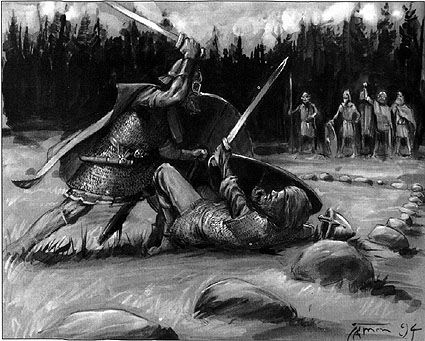 "Hólmganga was a duel practiced by early Scandinavians. It was a recognized way to settle disputes. Hólmganga can be translated as ""to go to (or walk on) a small island"" or simply ""island walk"", perhaps a reference to the duels taking place upon a small piece of hide or cloak placed on the ground. The name may also derive from the combatants dueling on a small island or islet, as they do in the saga of Egill Skallagrimsson."