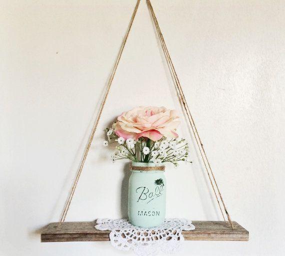 Swing Shelf – Reclaimed Wood – Rope Shelf – Swing Shelf – Floating Shelf – Minimalist shelf