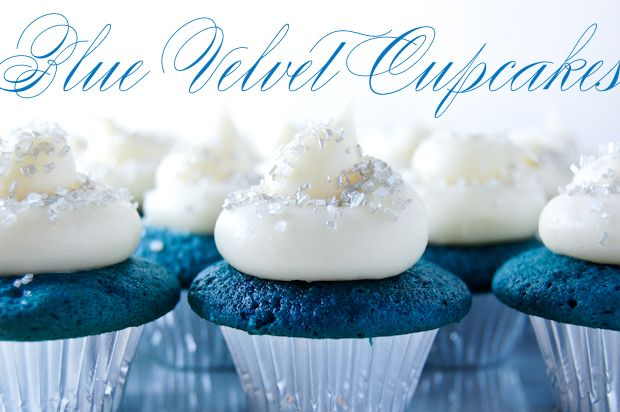 Blue Velvet Cupcakes  2 1/2 c flour,  1 tbsp cocoa powder,  1 tsp baking soda,  1 tsp baking powder,  1 tsp salt,  1 1/2 c sugar,  1/2 c butter,  2 eggs,  1 c buttermilk,  2 oz blue food coloring,  1 tsp distilled white vinegar,  1 tsp vanilla extract