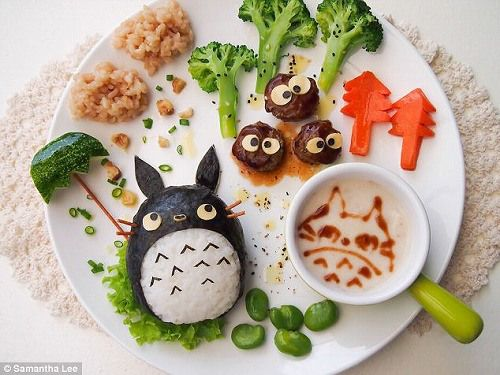 totoro plate, studio ghibli food - I love food art and this is just amazing!