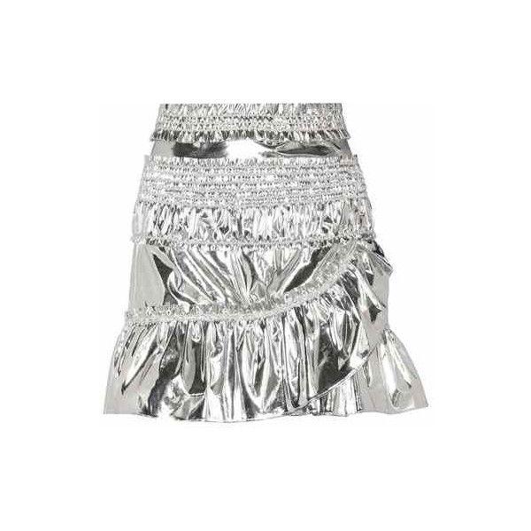 Isabel Marant Jeanne Metallic Skirt (3.635 DKK) ❤ liked on Polyvore featuring skirts, silver metallic skirt, metallic skirt, white skirt, isabel marant and white knee length skirt