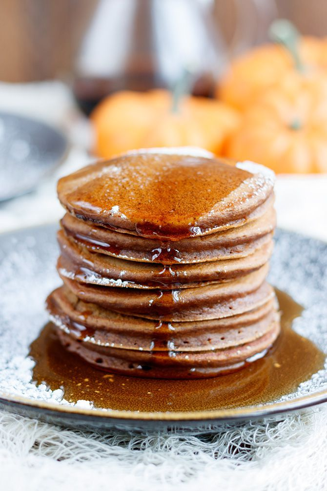 Perfect chocolate pumpkin pancakes with added chocolate make this breakfast perfect for a chilly fall morning.