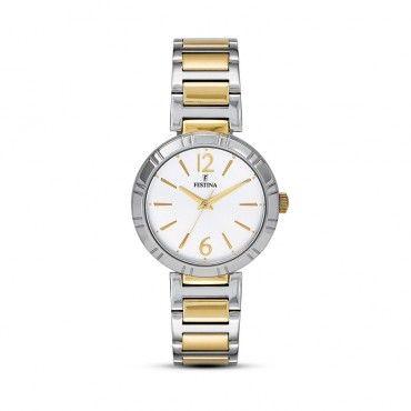 FESTINA steel bracelet F16937/1 Γυναικείο κλασικό ρολόι FESTINA με άσπρο καντράν και μπρασελέ απλό και επιχρυσωμένο | FESTINA ΤΣΑΛΔΑΡΗΣ στο Χαλάνδρι #Festina #απλο #λευκο #μπρασελε #ρολοι