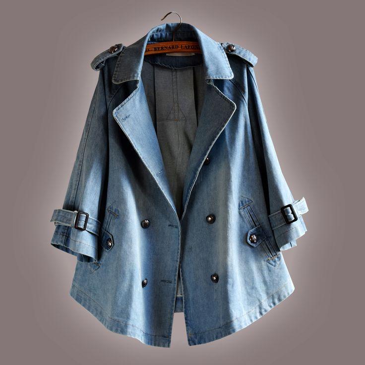 2015 İlkbahar ve Sonbahar yeni Kore kruvaze ceket büyük boy gevşek denim burun yakalı kadınlar kaplamaz A kelimeyi uygun - Taobao
