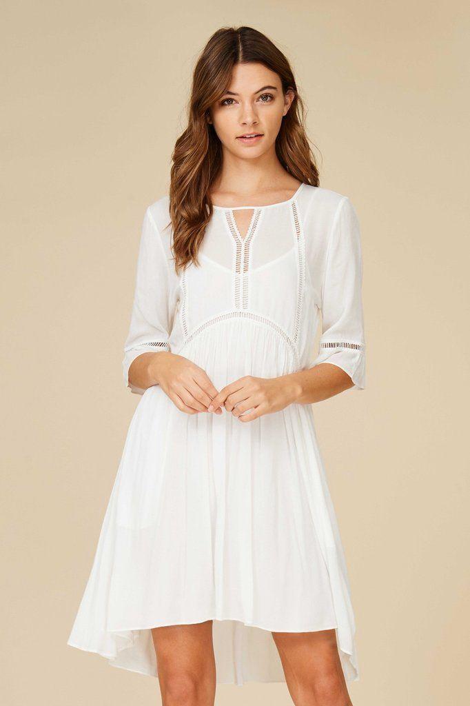 Lace Insert Half Sleeve Dress