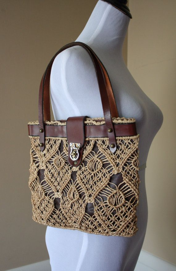 1970s Brown Leather and Macrame Handbag by SecondSparrowVintage