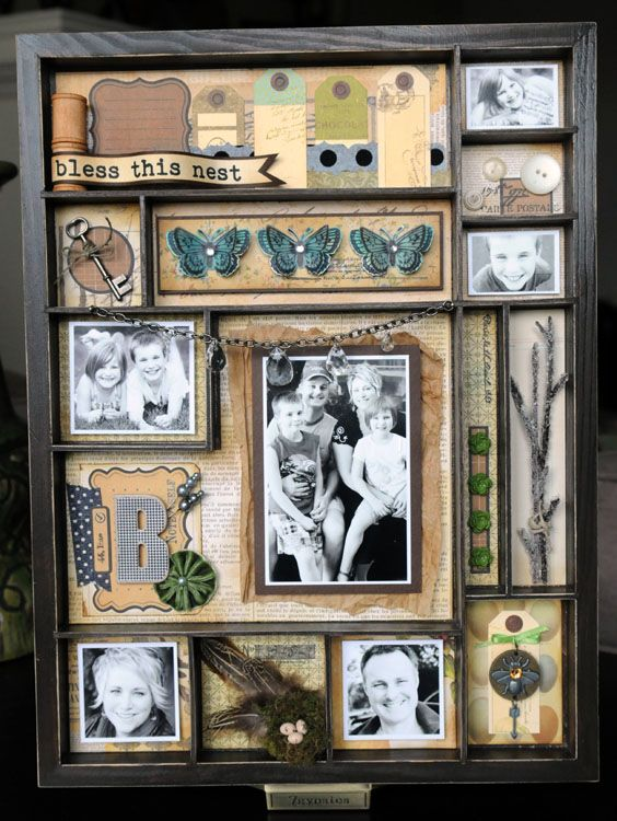 This is such a great use for crafting scraps, mementos and picture frames with…