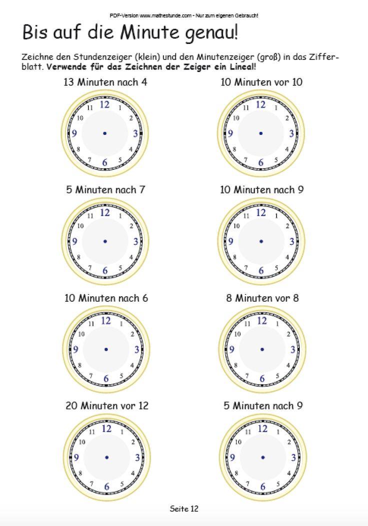 Uhrzeit lernen - Arbeitsblatt auf die Minute genau Aufgabe aus dem Übungsheft Uhrzeit lernen von Mathefritz
