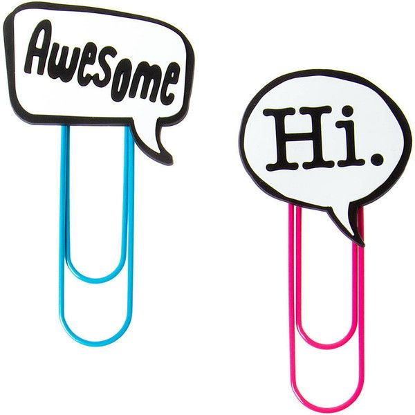 Awesome and Hi Talk Bubble Jumbo Paper Clips Set of 2 ($35) ❤ liked on Polyvore