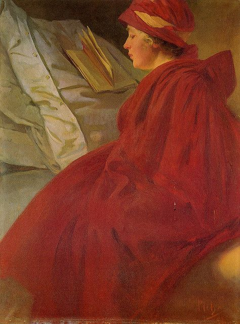 Alphonse Mucha: The Red Cape, oil painting, 1902