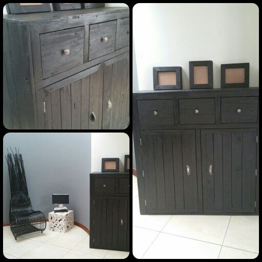 Black Stained Palett Wood custom made cupboard with matching frames.  www.youngath-art.com Johannesburg, South Africa