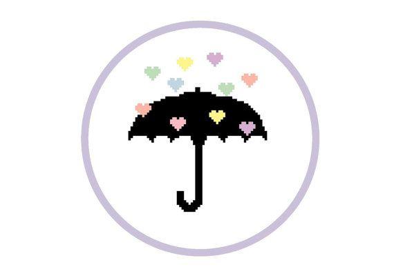 Rain of love PDF modern cross stitch pattern by PrincesseNature