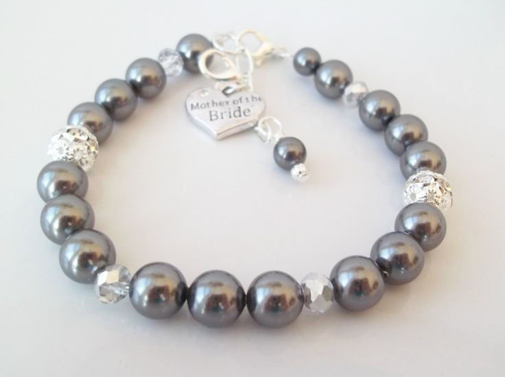 Mother of the Bride Bracelet,Gift for Mother of the Bride,MOB Charm,Mother of the Bride Charm Bracelet,Charm Bracelet,Swarovski Pearls by Uniquebeadables on Etsy