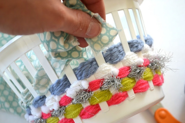 Weaving plastic baskets!! Cute idea could do for children for Easter I would use pastel ribbon though,.