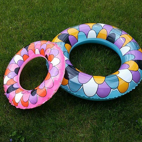 2 vintage ideaal merk Plastic 1960's MOD zwembad drijft