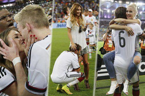 Nach dem Spiel holten sich die WM-Helden die Belohnung bei ihren Freundinnen und Ehefrauen ab. Die schönen Jubelbilder der Spielerfrauen. Foto: imago