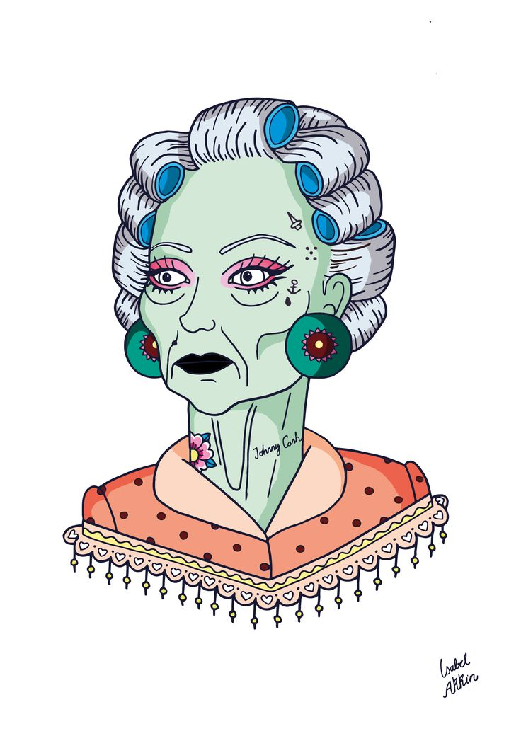 Johnny Cash fan by Isabel Akkin #isabel #akkin #isabelakkin #illustration #ilustracion #granny #grandma #johnnycash #tattoo #eyeliner #lashes #fan #fabulous #necktattoo #jailtattoos