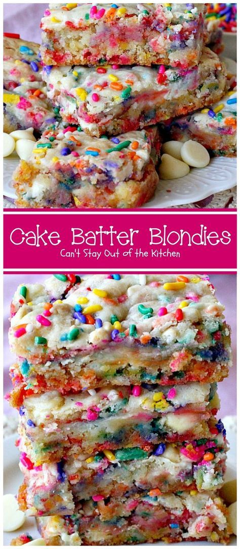 Cake Batter Blondies start with a boxed cake mix, sprinkles and either white chocolate or vanilla chips. Rich and decadent. Great tailgating recipe.