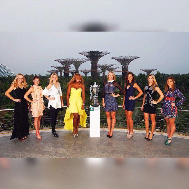 WTA Finals✨  Red Group (1) S Williams (4) S Halep (5) G Bouchard (7) A Ivanovic  White Group⚪️ (2) M Sharapova (3) P Kvitova (6) A Radwanska (8) C Wozniacki  #Singapore #WTA #Finals #Williams #Ivanovic #Halep #Bouchard #Sharapova #Kvitova #Radwanska #Wozniacki