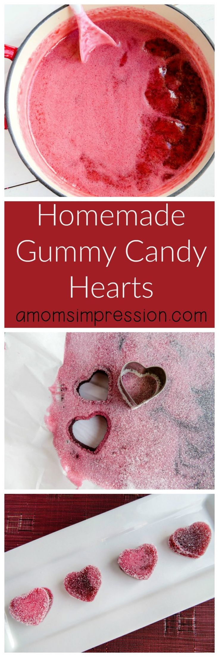 Homemade gummy candy made into hearts. An easy Valentine's Day treat idea.