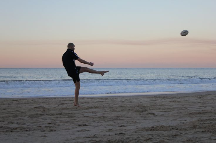 Dorian Aust: Rugby is a major part of the Aussie Culture, as well as the Beach. The photo shows how to combine these two activities.