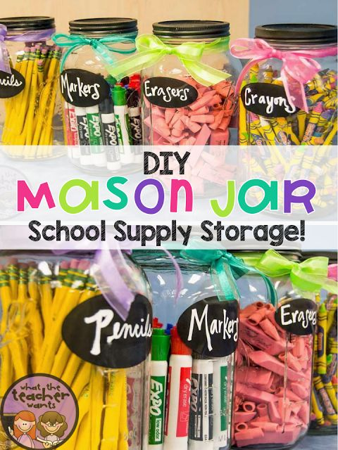 What the Teacher Wants!: 2 DIY Projects: Pop of Color and Mason Jar Storage