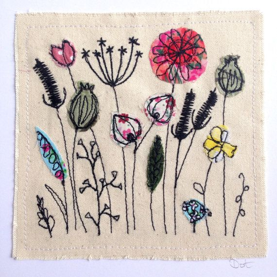 Wildflower meadow greeting card, machine embroidered stitched fabric applique. Birthday blank. Seed heads, nature, wildlife