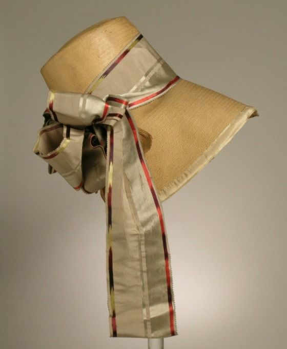 Woman's Bonnet | LACMA Collections England or Italy, circa 1825 Costumes; Accessories Leghorn straw, silk ribbon