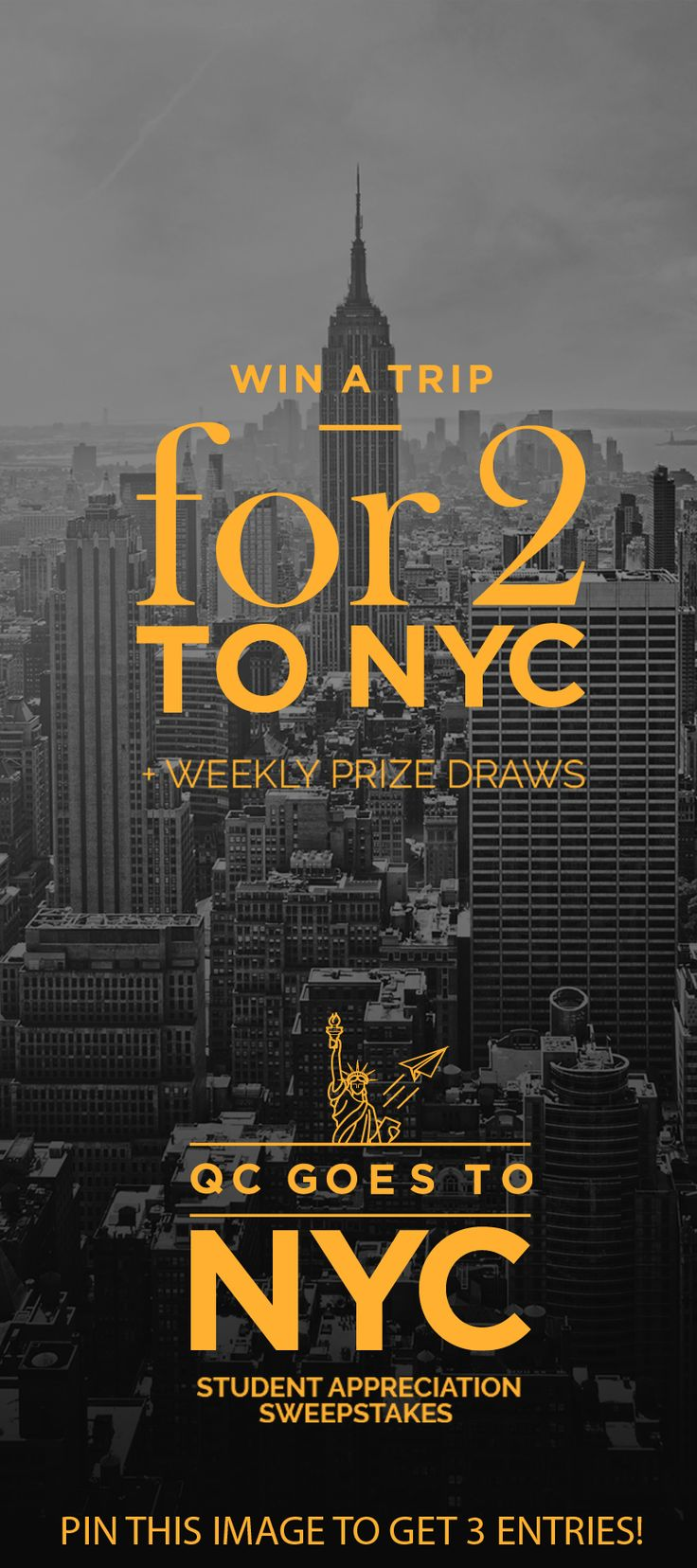 From now until February 28th, all students of QC Makeup Academy can enter the Sweepstakes for a chance to win a trip for two to New York City! Pin this image to your board to gain 3 entry points. Remember to follow our board for another 2 points!
