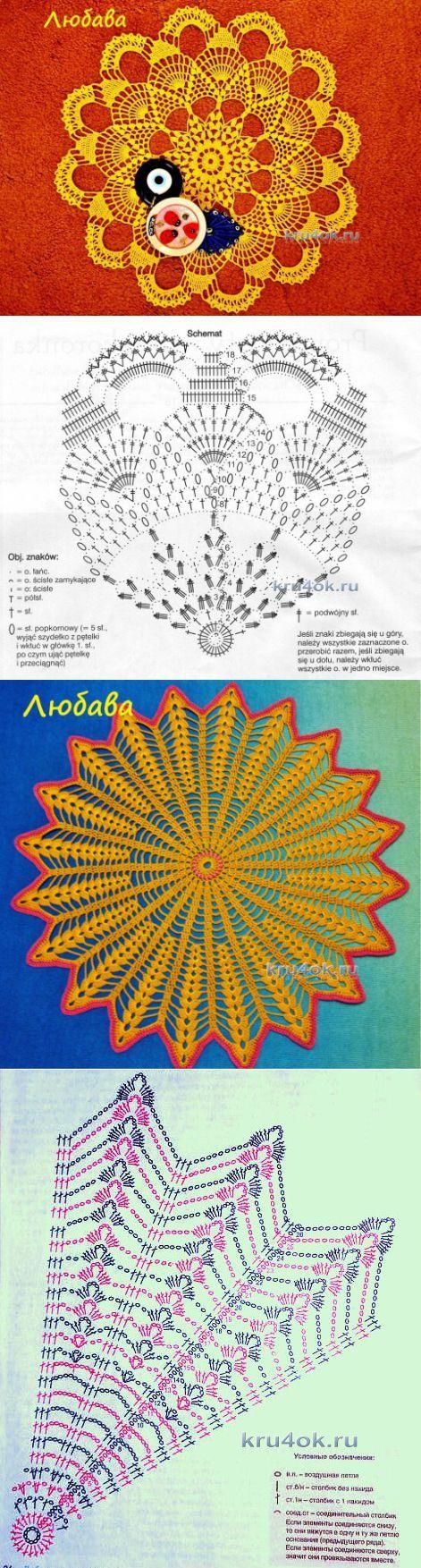 Салфетки крючком с описанием и схемами - вязание крючком на kru4ok.ru