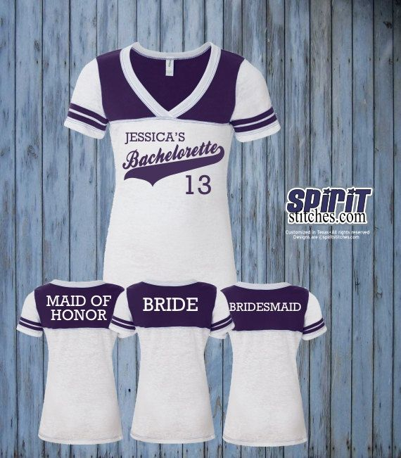 Custom Bachelorette jerseys. Vintage Football style t-shirts with custom printing and player name option on the back.
