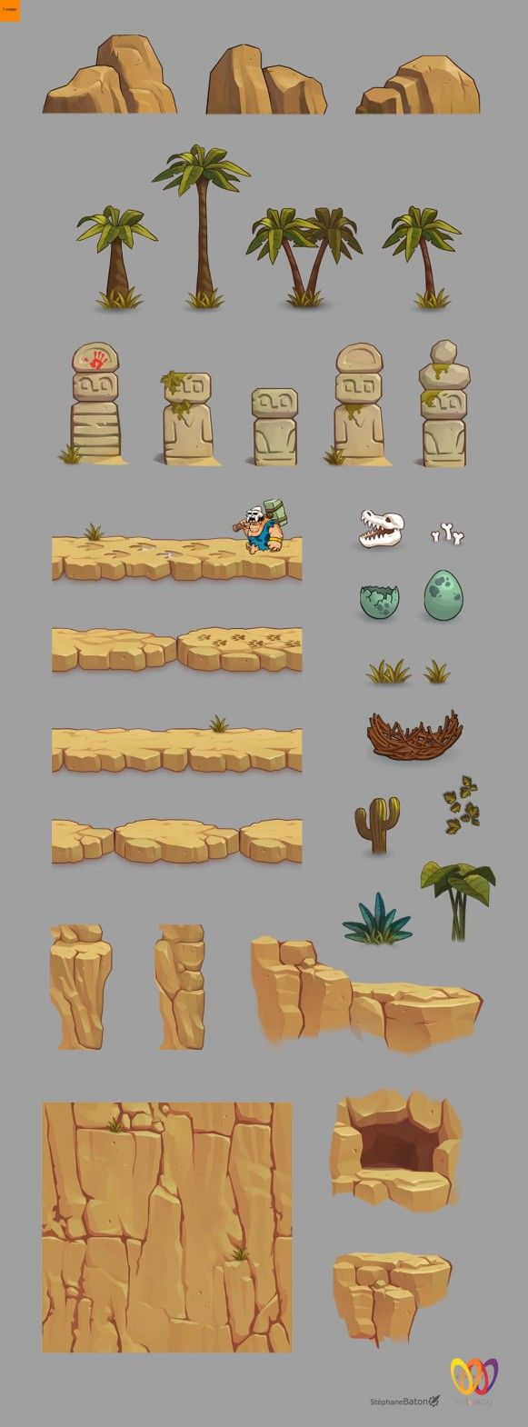 Objects and tileable elements for 2d game app Stephane Bat