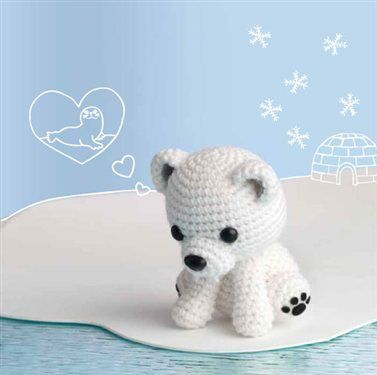 This amigurumi is just too cute! Crochet this stuffed polar bear fondly named Polar Lucibear, one of Crochet Me's Amigurumi Wall Calendar projects.